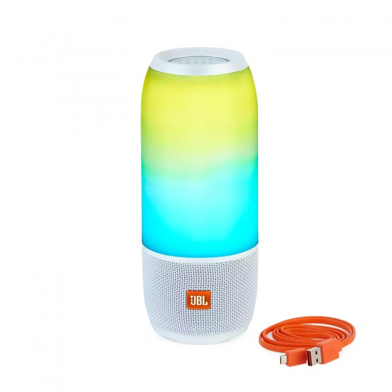 JBL Pulse 3 Wireless Bluetooth IPX7 Waterproof Portable Speaker with 360° Lightshow & Sound (White)