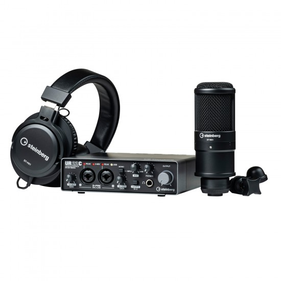 Steinberg UR22C Recording Pack with USB 3.1 Audio Interface, Condenser Microphone, and Headphones